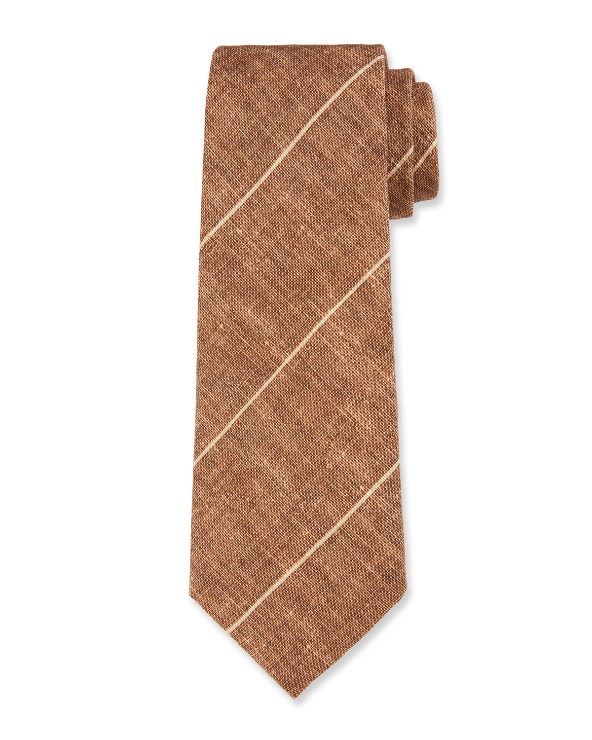 Thin-Striped Linen/Silk Tie