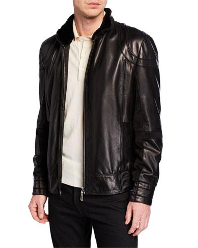 Men's Zip-Front Leather Jacket w/ Fur Trim, Black