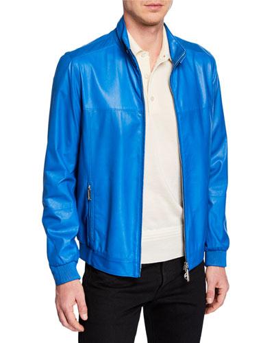 Men's Zip-Front Leather Jacket