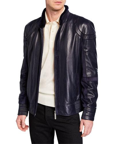 Men's Zip-Front Leather Jacket w/ Fur Trim, Navy
