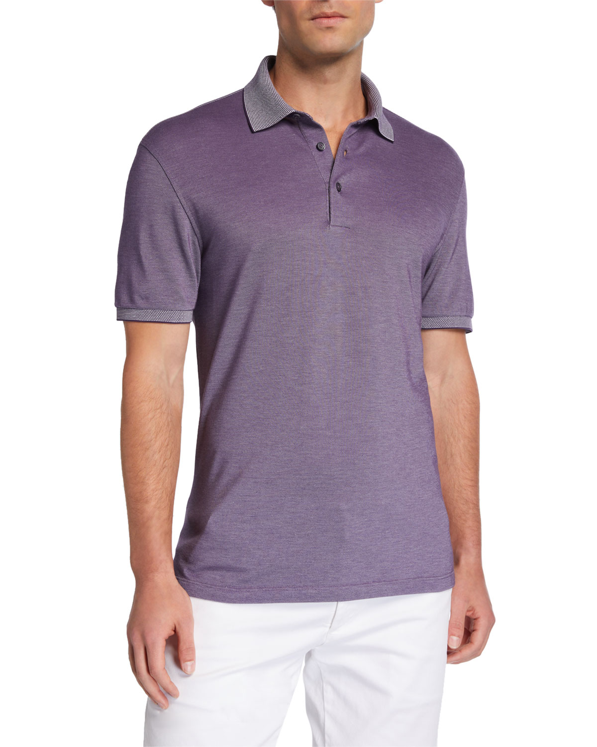 Ermenegildo Zegna T-shirts MEN'S COTTON JERSEY POLO SHIRT WITH CONTRAST COLLAR/CUFFS