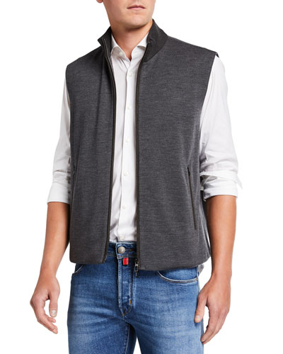 Men's Wish Wool-Blend Vest with Leather Trim