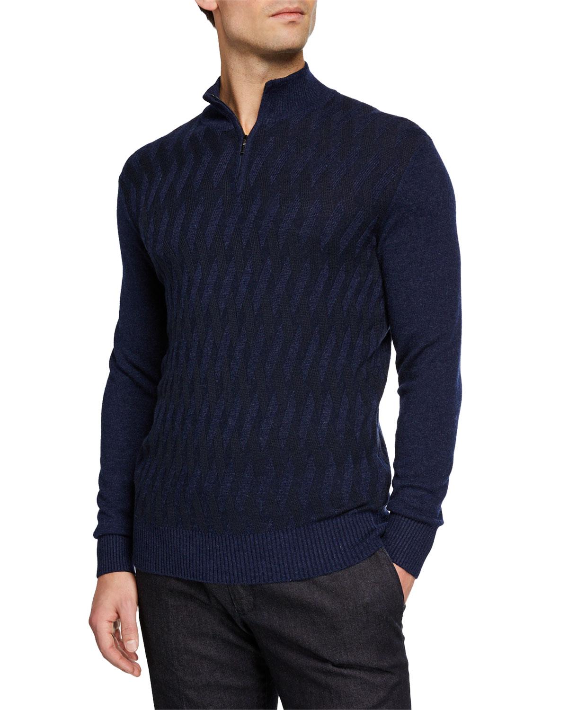 Loro Piana Sweaters MEN'S CASHMERE CROSS STITCH QUARTER-ZIP SWEATER