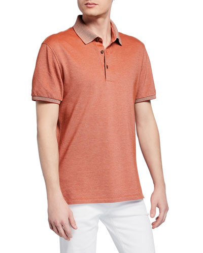Men's Cotton Jersey Polo Shirt, Orange