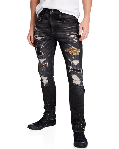Men's Boy Leopard Patch Repaired Distressed Jeans
