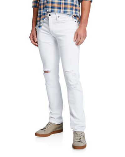 Men's L'Homme Skinny-Fit Distressed Jeans with Ripped Knees