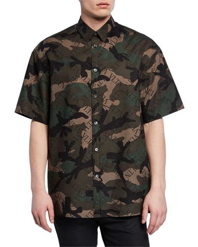 Men's Camo-Print Short-Sleeve Button-Down Shirt