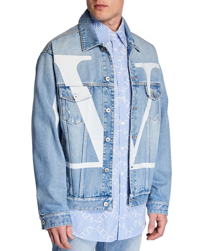 ae32ef7d Quick Look. Valentino · Men's Logo-Front Jean Jacket. Available in Light  Blue