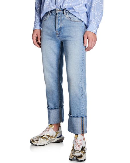 Valentino Men's Loose-Fit Cuffed-Hem Jeans