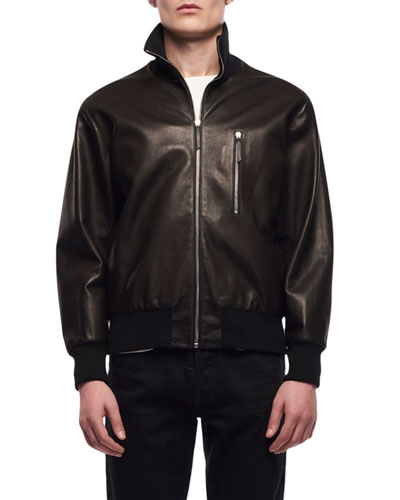 e7022a2a Stand Collar Leather Jacket | Neiman Marcus