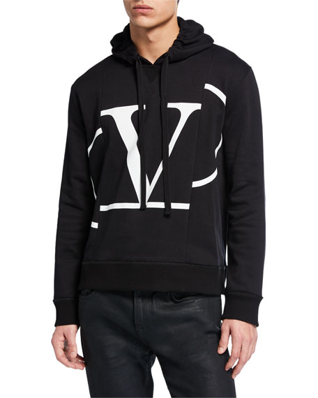 Valentino Men's Cut-Up Logo Graphic Pullover Hoodie