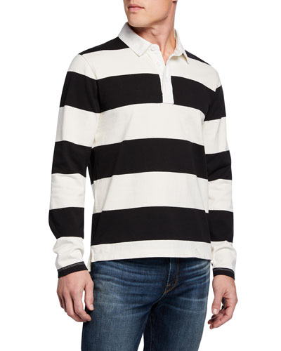 Men's Long-Sleeve Striped Rugby Polo Shirt