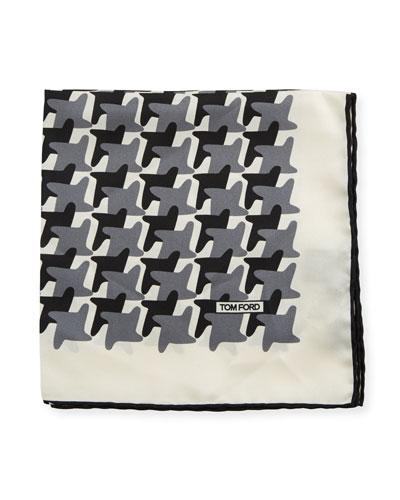 Abstract-Pattern Silk Pocket Square, Black