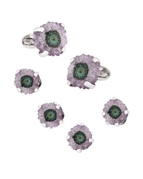 Jan Leslie Purple Stalactite Cufflinks & Studs Set