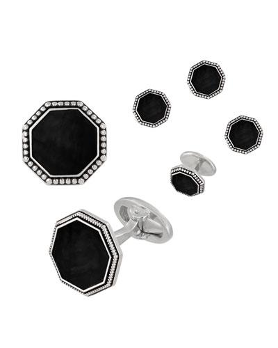 d63069bf7591 Quick Look. Jan Leslie · Beaded Octagonal Onyx Cufflinks & Studs Set