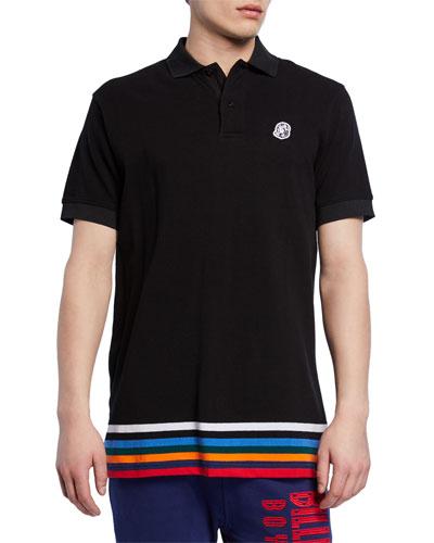 Men's Wonka Striped-Hem Cotton Pique Polo Shirt