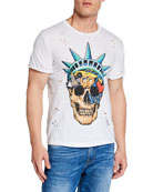 Domrebel Men's Liberty Skull Graphic T-Shirt