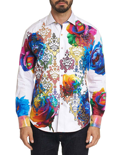Men's Graphic Print Long-Sleeve Sport Shirt