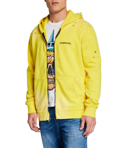 Men's Taxi-Pattern NY Graphic Zip-Front Hoodie