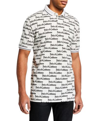 Men's Allover Logo Polo Shirt