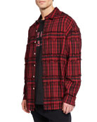 Mostly Heard Rarely Seen Men's Slater Fringed-Trim Plaid