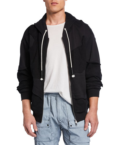 Men's Raf Paneled-Cotton Zip-Front Hoodie