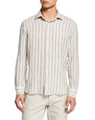 Culturata Men's Barre Washed Textured Stripe Dress Shirt