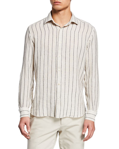 Men's Barre Washed Textured Stripe Dress Shirt