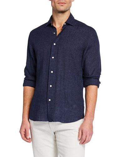 Men's Soft-Washed Linen Sport Shirt