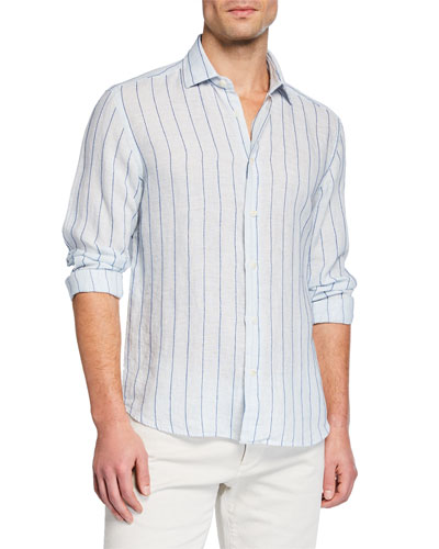 Men's Striped Washed Linen Sport Shirt