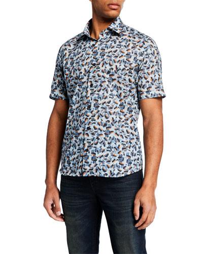 Men's Soft Brushstrokes Short-Sleeve Sport Shirt