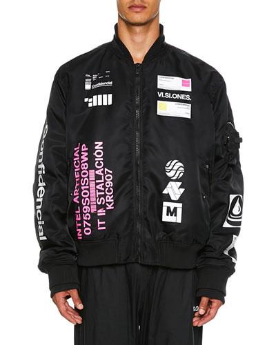 Men's Logo-Patch Nylon Bomber Jacket