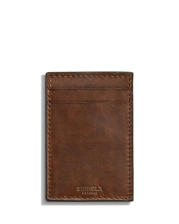 Shinola Bags MEN'S NAVIGATOR LEATHER CARD CASE WITH MONEY CLIP