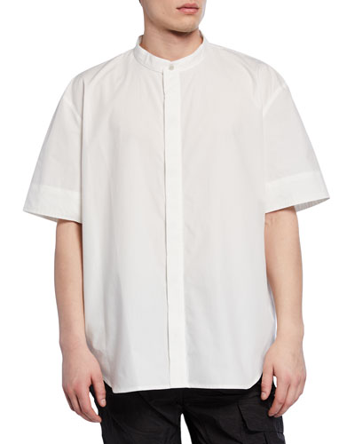 Men's Band-Collar Woven Shirt