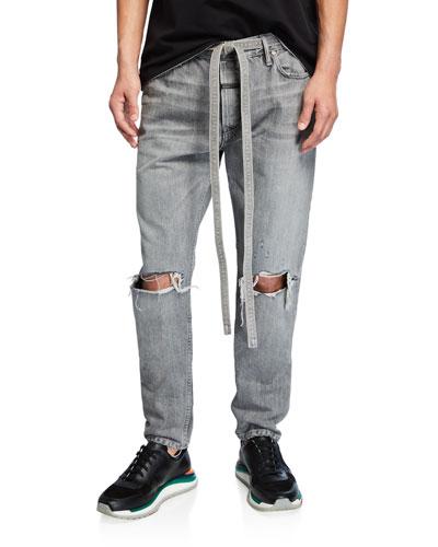 Men's Core Gray-Wash Distressed Jeans
