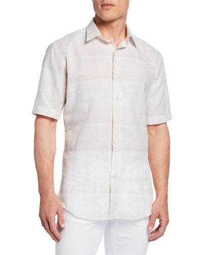 Men's Exploded Plaid Short-Sleeve Sport Shirt