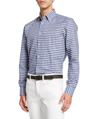 Men's Cotton/Linen Check Sport Shirt