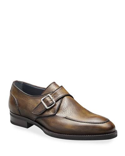 Men's Pecari Zenzero Single-Monk Leather Shoes