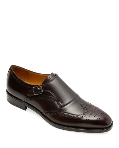Men's Harling Brogue Monk-Strap Shoes