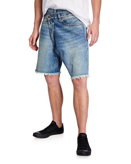 R13 Men's Crossover Denim Shorts