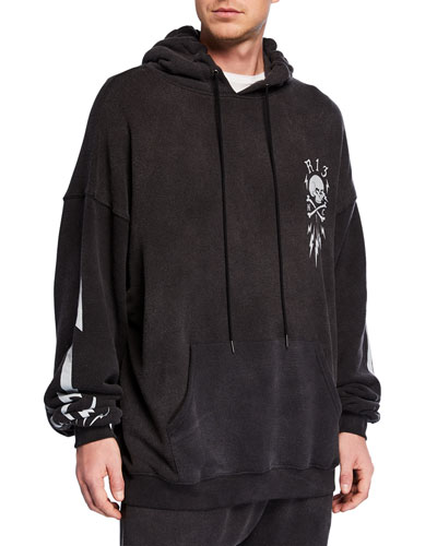 Men's Oversize Lightning Bolt Skull Graphic Hoodie