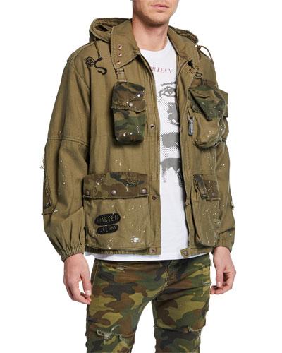 Men's Multi-Pocket Camouflage-Trim Jacket