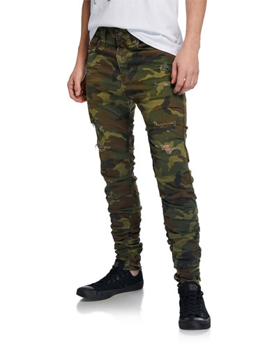 Men's Gathered Camo Skinny Pants