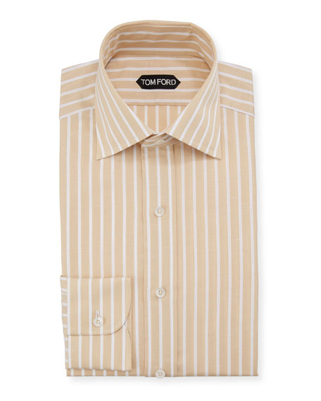 TOM FORD Men's Striped Linen-Blend Dress Shirt