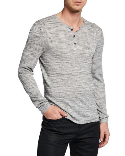 Men's Sean Melange-Knit Henley Shirt