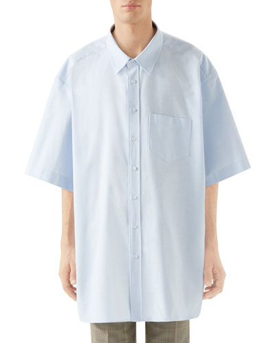 93e9a5a7 Quick Look. Gucci · Men's Oversized Short-Sleeve Oxford Shirt. Available in  Blue