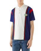 Gucci Men's Vintage Colorblock Polo Shirt with Logo