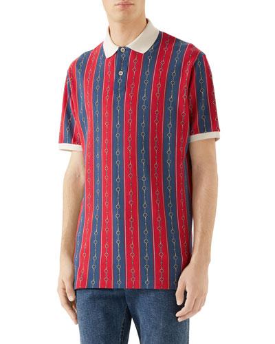 Men's Chain-Stripe Pique Polo Shirt