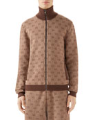 Gucci Men's GG Logo Zip-Front Turtleneck Sweater