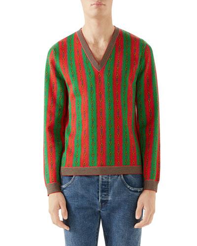 Men's Scarf-Print V-Neck Sweater
